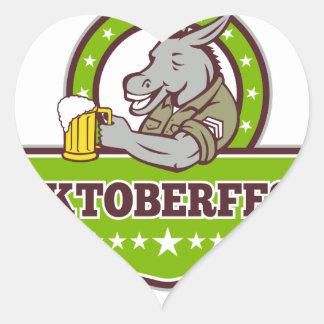 Sticker Cœur Buveur de bière d'âne Oktoberfest rétro