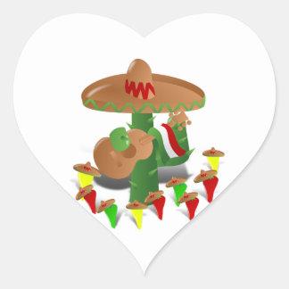 Sticker Cœur Cactus de fiesta avec des poivrons de guitare et
