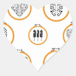 Sticker Cœur Cadres de broderie de tapisserie à l'aiguille