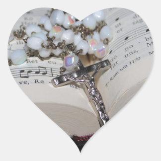 Sticker Cœur cahier de musique de chapelet