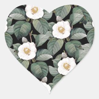 Sticker Cœur Camélia blanc sur le motif noir