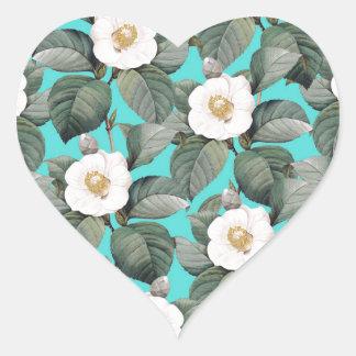 Sticker Cœur Camélia blanc sur le motif turquoise