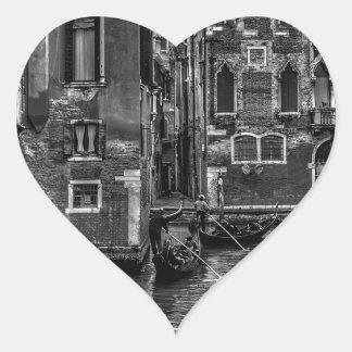 Sticker Cœur Canal de bateau de gondole de Venise Italie