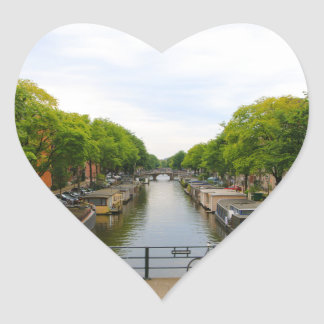 Sticker Cœur Canal, ponts, vélos, bateaux, Amsterdam, Hollande
