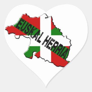 Sticker Cœur Carte pays basque plus drapeau euskal herria