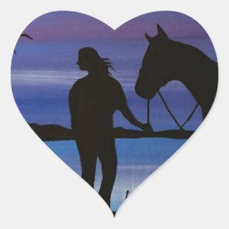 Sticker Cœur cavalier et cheval