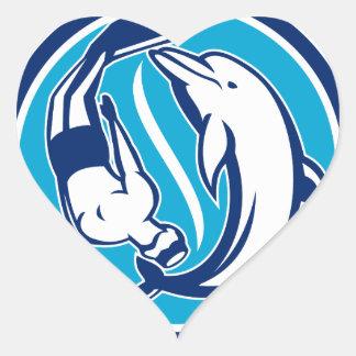 Sticker Cœur Cercle libre de Yin Yang de plongeur et de dauphin