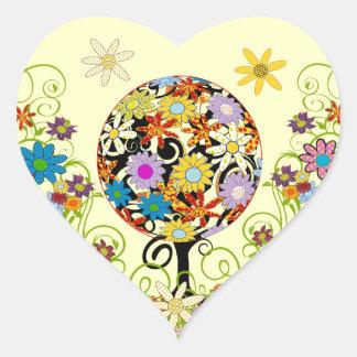 Sticker Cœur Cercle magique de forêt du mariage d'arbre de
