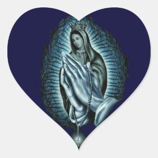 Sticker Cœur Chapelet de prière béni par coeur de Vierge Marie