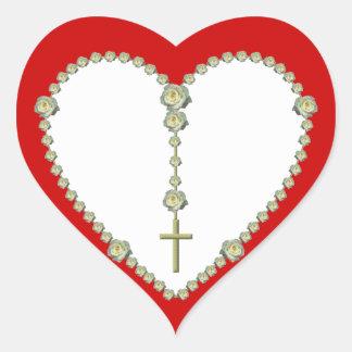 Sticker Cœur Chapelet de rose blanc