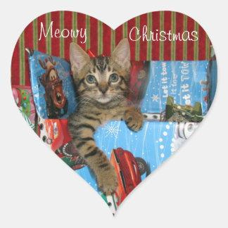 Sticker Cœur Chat, chaton, Noël, délivrance, photo