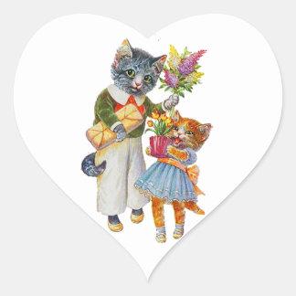 Sticker Cœur Chats d'Arthur Thiele soutenant des cadeaux