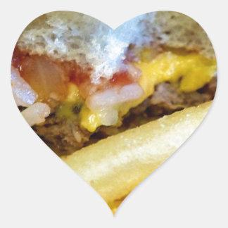 Sticker Cœur Cheeseburger et fritures