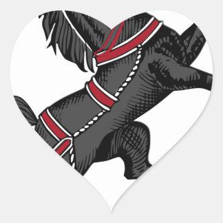 Sticker Cœur Cheval noir