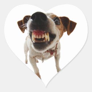 Sticker Cœur Chien agressif - chien fâché - chien drôle