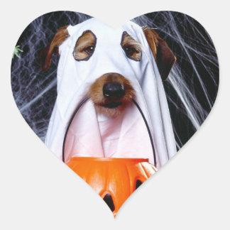 Sticker Cœur Chien de fantôme - chien drôle - poursuivez