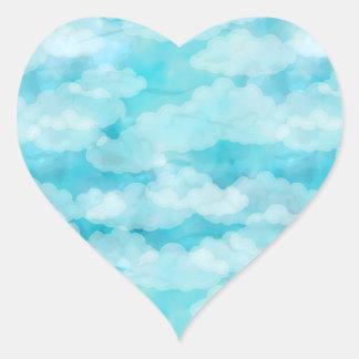 Sticker Cœur Ciel bleu, nuages blancs, Cloudscape, ciel nuageux