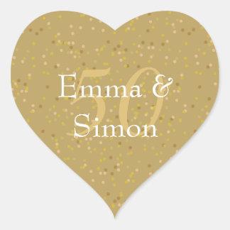 Sticker Cœur cinquantième Confettis de la poussière d'or