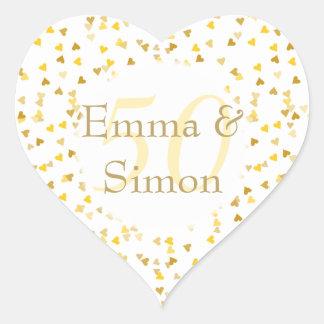 Sticker Cœur cinquantième Confettis d'or de coeurs