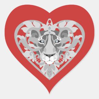 Sticker Cœur Coeur-autocollant de pendentif de lionne d'amour