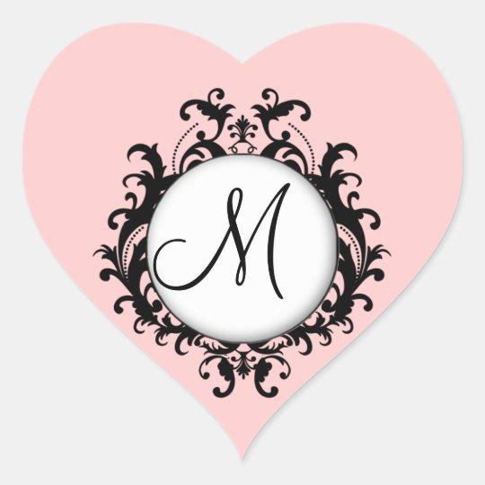 Sticker Cœur Coeur chic de rose d'étiquette de damassé