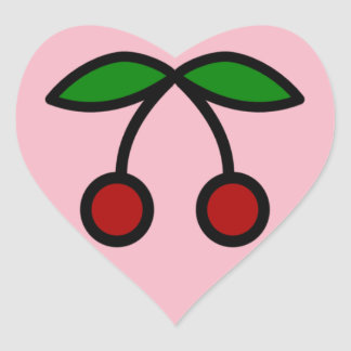 Sticker Cœur coeur de cerise