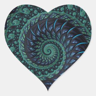 Sticker Cœur Coeur de fractale dans les bleus et les verts