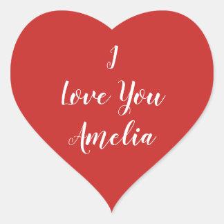 Sticker Cœur Coeur rouge je t'aime personnalisé