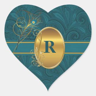 Sticker Cœur Coeur turquoise de mariage de paon décoré d'un