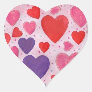 Sticker Cœur Coeurs de Saint-Valentin en le rose, le pourpre et