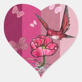 Sticker Cœur colibri