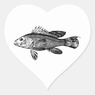 Sticker Cœur Collection de mer de pêcheur de poissons