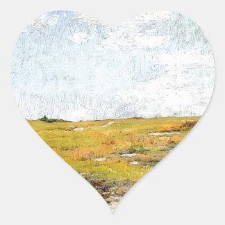Sticker Cœur Collines ensoleillées de Shinnecock d'après-midi