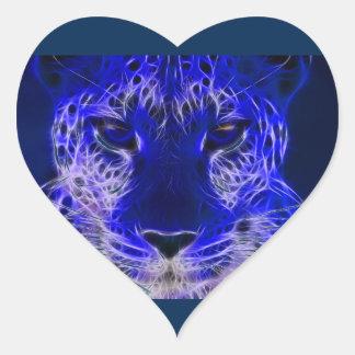 Sticker Cœur conception bleue de fractale de guépard