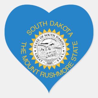 Sticker Cœur Conception de drapeau du DAKOTA DU SUD -