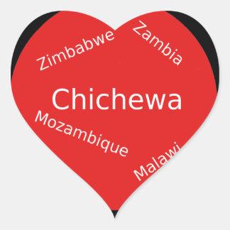 Sticker Cœur Conception de langue de Chichewa