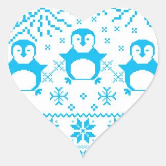 Sticker Cœur Conception scandinave bleue mignonne de vacances
