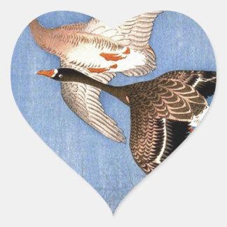 Sticker Cœur Copie vintage des oies de vol