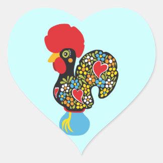 Sticker Cœur Coq célèbre de Barcelos Nr 06