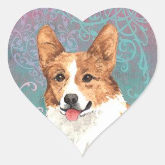 Sticker Cœur Corgi élégant de Gallois de Pembroke