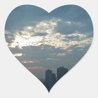 Sticker Cœur Coucher du soleil Manhattan1