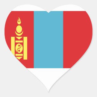 Sticker Cœur Coût bas ! Drapeau de la Mongolie