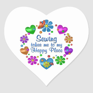 Sticker Cœur Couture de mon endroit heureux