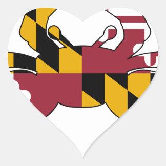 Sticker Cœur Crabe de drapeau du Maryland