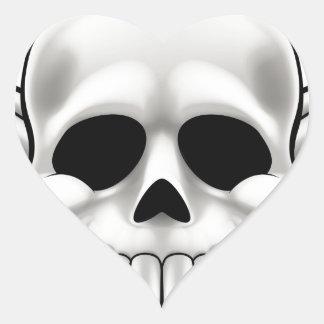 Sticker Cœur Crâne et os croisés
