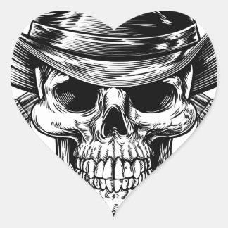 Sticker Cœur Crâne et pistolets de cowboy