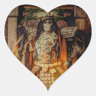 Sticker Cœur crâne samouraï japonais de samouraïs d'armure de