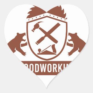 Sticker Cœur Crête de travail du bois de diable tasmanien rétro