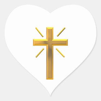 Sticker Cœur Croix d'or 4