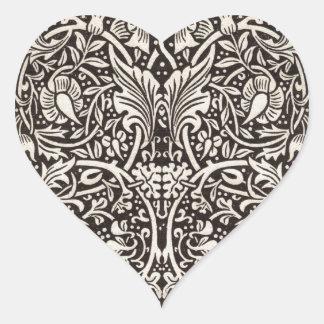 Sticker Cœur Cru floral de motif de jonquille de William Morris